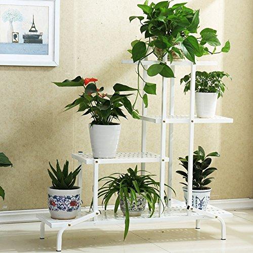 QFF Ensemble de fleurs en fer, étagère à fleurs à étages, à plusieurs étages, salon, balcon, étagère à fleurs ( Couleur : Blanc , taille : 100*33*103cm )