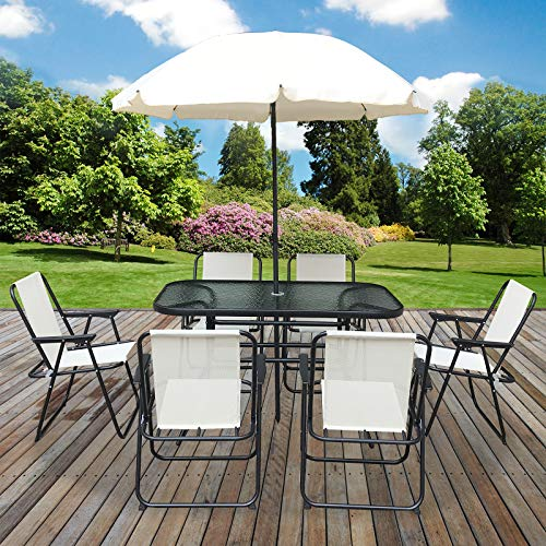 Marko Outdoor 8PC Garden Patio Furniture Set Outdoor Cream Rectangular Table Chairs & Parasol