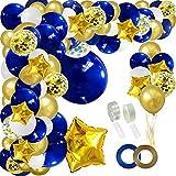 JULLIZ 142pcs Navy Blue Gold Balloon Arch Garland, Royal White Gold Confetti...