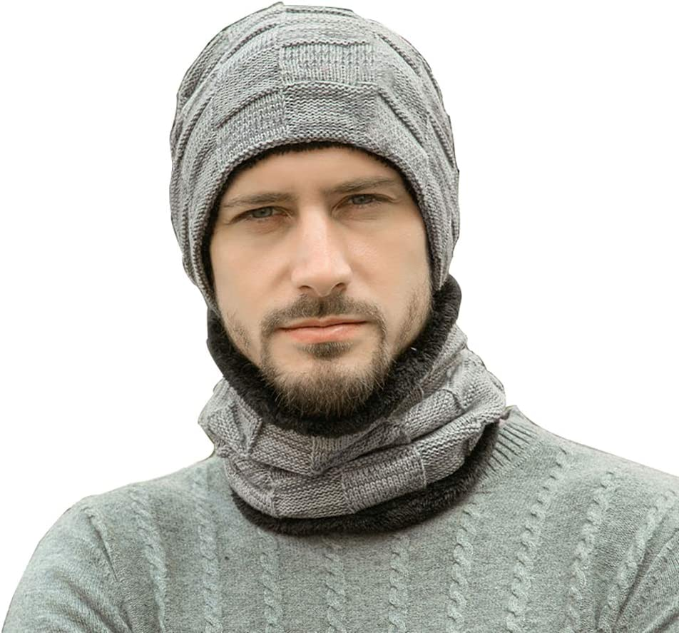 Dream Wings 2 in 1 Winter Fleece Lined Knitted Hat and Circle Scarf Set Warm Unisex Beanie Hat Skullies Cap for Men Women (Grey)