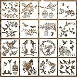 16 Plantillas de Pájaros Plantilla de Ramas de Árbol de Pájaro Plantilla de Pintura de Ave Volador Plantilla de Dibujo de Hoja de Flor Reutilizable para Pintar en Pared DIY Naturaleza