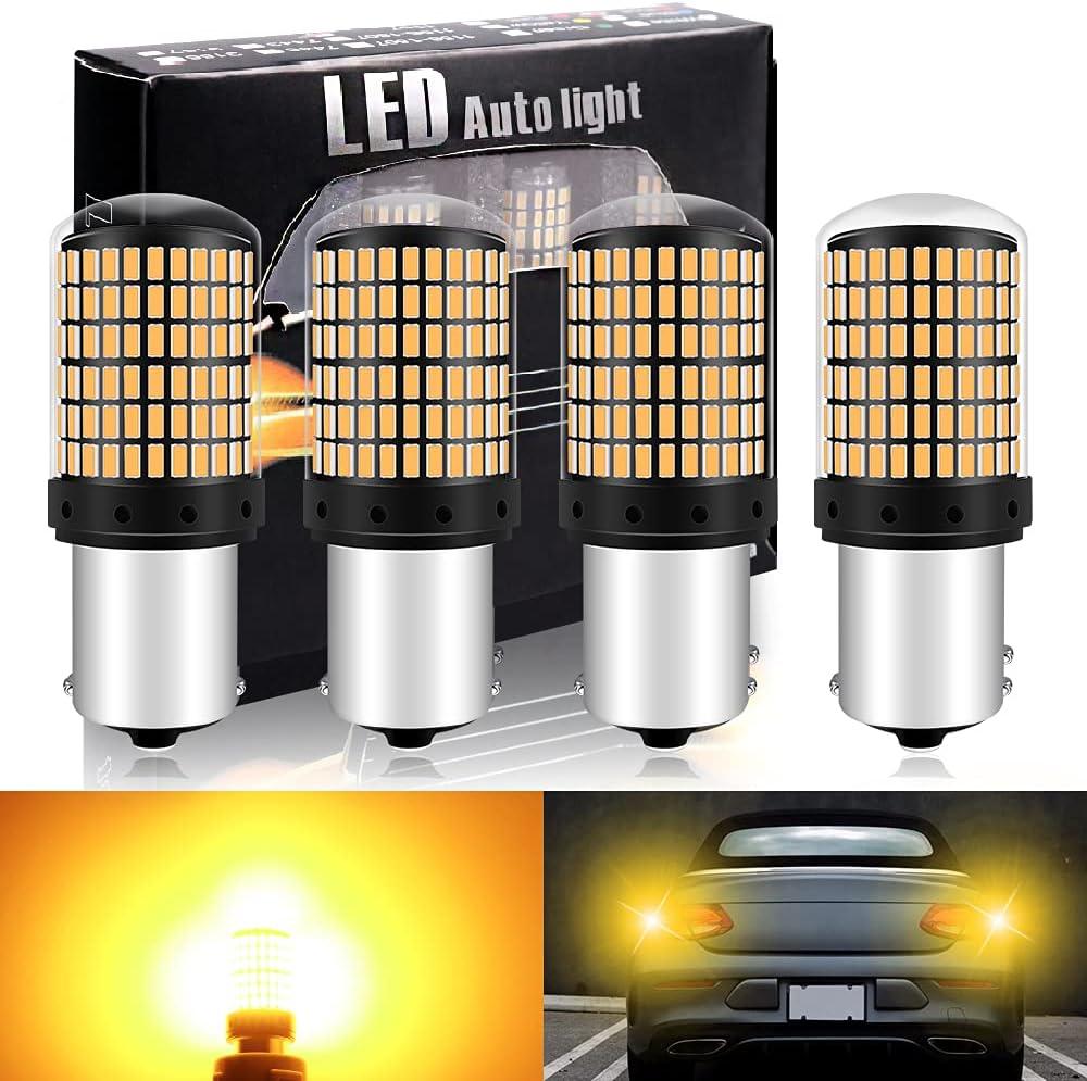 DEFVNSY- Paquete de 4-1056 BAU15S 7507 12496 5009 PY21W Superbrillante ámbar/Amarillo 12-24V DC 3014 144SMD Bombillas LED para Intermitentes Luces Intermitentes Luz de Marcador Lateral