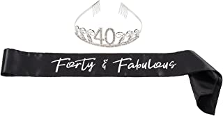 Happy Birthday Tiara and Sash Set – Rhinestone Queen Tiara with Forty and Fabulous Satin Sash Decoration for 40th Birthday