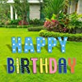 """TOP4EVER Happy Birthday Yard Signs with Stakes 15"""" Colorful Lawn Letters - 13Pcs Party Sign Decor for Backyard Celebration - Weatherproof Corrugated Plastic Outdoor PartyDecorations"""