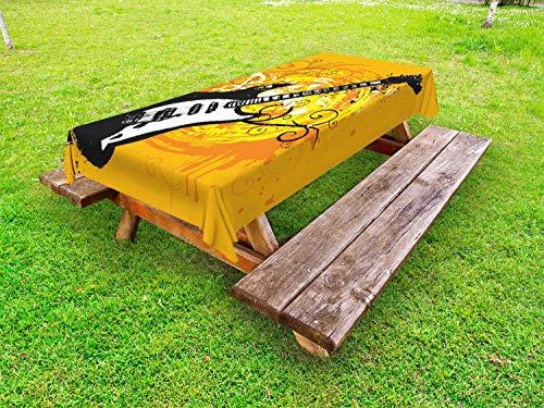 ABAKUHAUS Gitarre Outdoor-Tischdecke, Lackierung von Curls Strudel, dekorative waschbare Picknick-Tischdecke, 145 x 265 cm, Orange Weiss