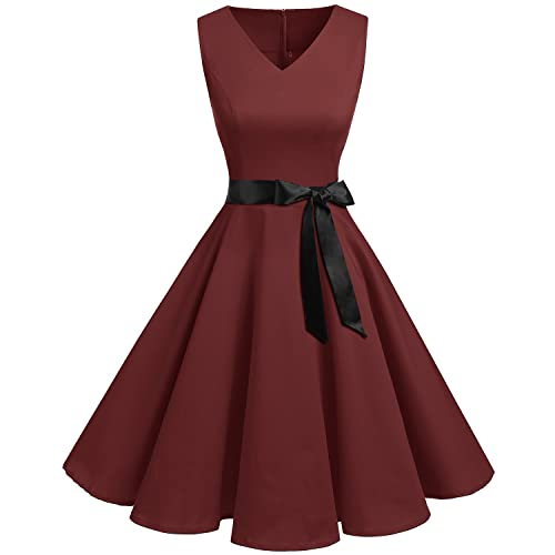 d447d5f1ff Bridesmay Women s V-Neck Audrey Hepburn 50s Vintage Elegant Floral  Rockabilly Swing Cocktail Party Dress