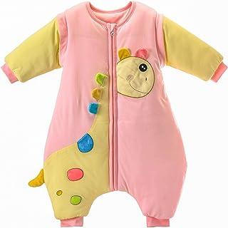 MIKAFEN, Saco de dormir para bebé con patas, forro cálido, de algodón, desmontable, con pies Azul3.5tog Rosado 12-24 meses