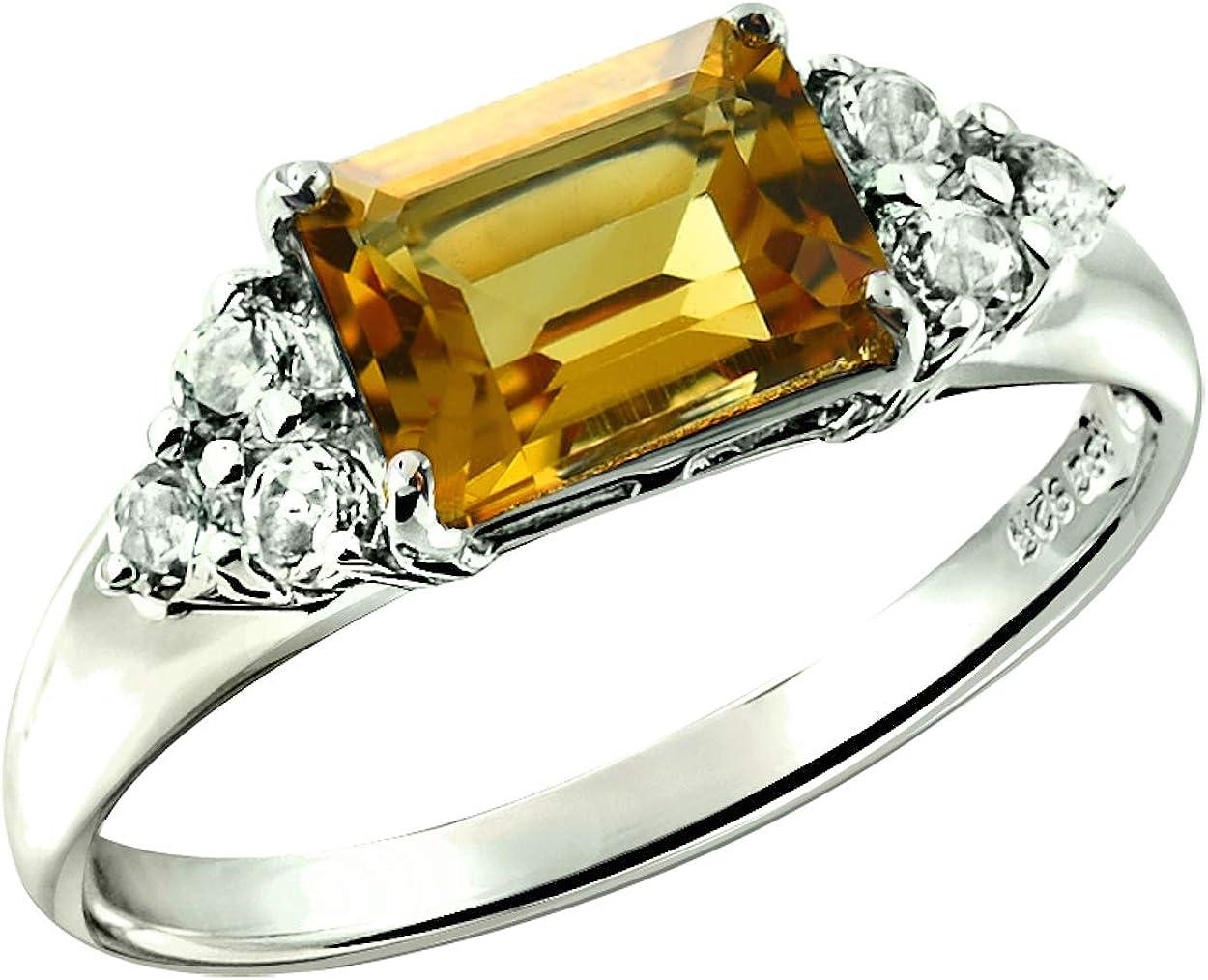RB Gems Sterling Silver 925 Max 76% OFF Reservation Gemstone 2. Genuine Emerald-Cut Ring