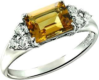 RB Gems Sterling Silver 925 Ring Genuine Gemstone Emerald-Cut 2.5 Cts, Rhodium-Plated Finish