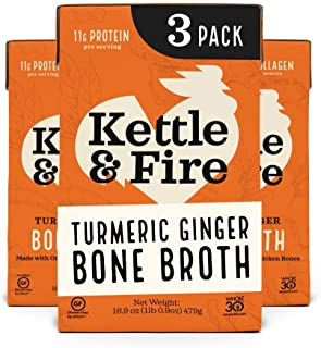 Sponsored Ad - Turmeric Ginger Chicken Bone Broth by Kettle and Fire, Pack of 3, Keto Diet, Paleo Friendly, Whole 30 Appro...