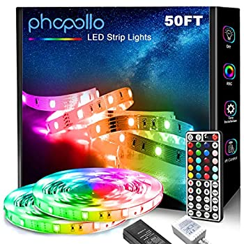PHOPOLLO 5050 LED Strip Lights 50ft LED Lights for Bedroom with 44 Key IR Remote Controller and 12V Power Supply