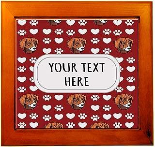 Ceramic Tile in Wood Frame Custom Black Tan Virginia Foxhound Pattern Adults