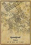 Pakistan Rawalpindi Landkarte Wandkunst Poster