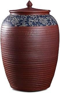 Pots et bocaux de conservation Céramique Riz Cylindre De Cuisine Farine Cylindre Grand Riz Baril Grain Fermé Stockage Étan...