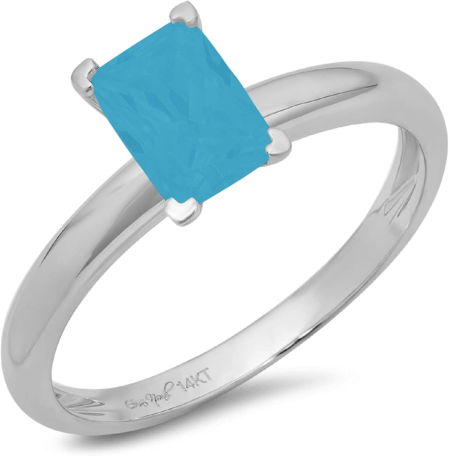 0.9ct Brilliant Emerald Cut Solitaire Flawless Simulated Cubic Zirconia Blue Turquoise Ideal 4-Prong Engagement Wedding Bridal Promise Anniversary Designer Ring Solid 14k White Gold for Women