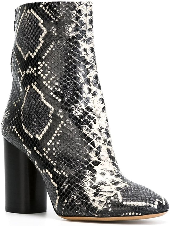 CCBubble Block Heels Snakeskin shoes Women Ankle Boots shoes Women