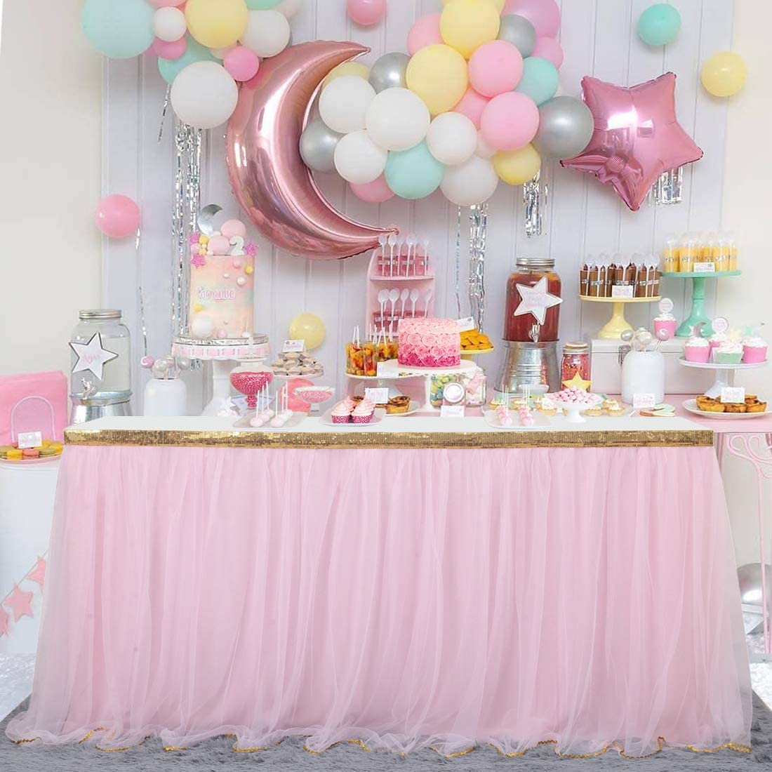 Besutolife Pink Tutu Table Skirt Tulle Table Skirts for Rectangle Tables Girl Baby Shower Princess Birthday Unicorn Party 14 ft