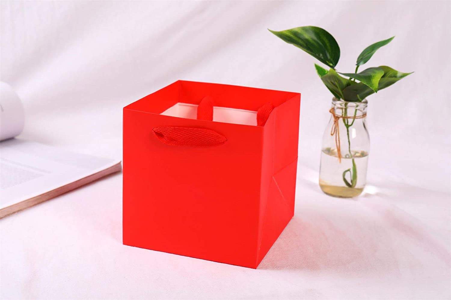 3 Bags Red Square Gift and Flower Bags Large Cube Rope Handle Florist Hand Tie Jumbo Large