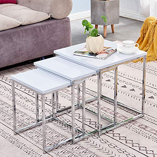 Redd Royal White High Gloss Nest of 3 Coffee Table, Modern Design Sofa Side Corner End Lamp Table, Small Square Nesting Tables for Living Room
