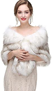 Women's 1920s Faux Fur Shawl Bridal Wedding Fur Wraps and Bolero Shrug Faux Mink Stole for Women and Girls