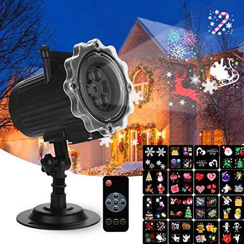 Proiettore Luci Natale LED, Qxmcov Halloween Proiettore Lampada con 16 Lenti Intercambiabili e Telecomando, Interno & Esterno Natale Decorazione per Halloween, Natale, Matrimonio, Festa, Giardino