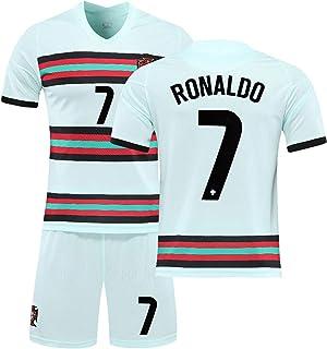 ロナウド(c羅)Ronaldo #7 ユニフォームズフットボールのユニフォームセッ2021ポルトガルアウェイ 大人用と子供用サッカーTシャツ+ショーツスーツ ファミリースタジアムスウェットシャツ (Size:16)