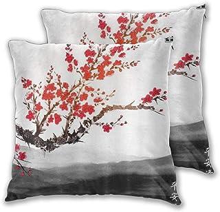 WINCAN Juego de 2 Decorativo Funda de Cojín Estilo asiático Oriental Pintura de Tinta China Japonesa Funda de Almohada Cuadrado para Sofá Cama Decoración para Hogar,60x60cm
