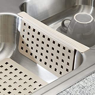 mDesign Kitchen Sink Protector Mat Pad Set, Quick Draining - Use In Sinks to Protect Surfaces and Dishes - 2 Piece Combo Set includes 1 Sink Saddle and 1 Sink Mat - Taupe