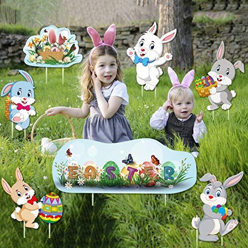 Sayala 8 pièces Décorations de Pâques, décorations de Jardin d'oeufs de Lapin de Pâques Signes Multicolores pour Les décorations de pelouse de Pâques en Plein air de Jardin (2)