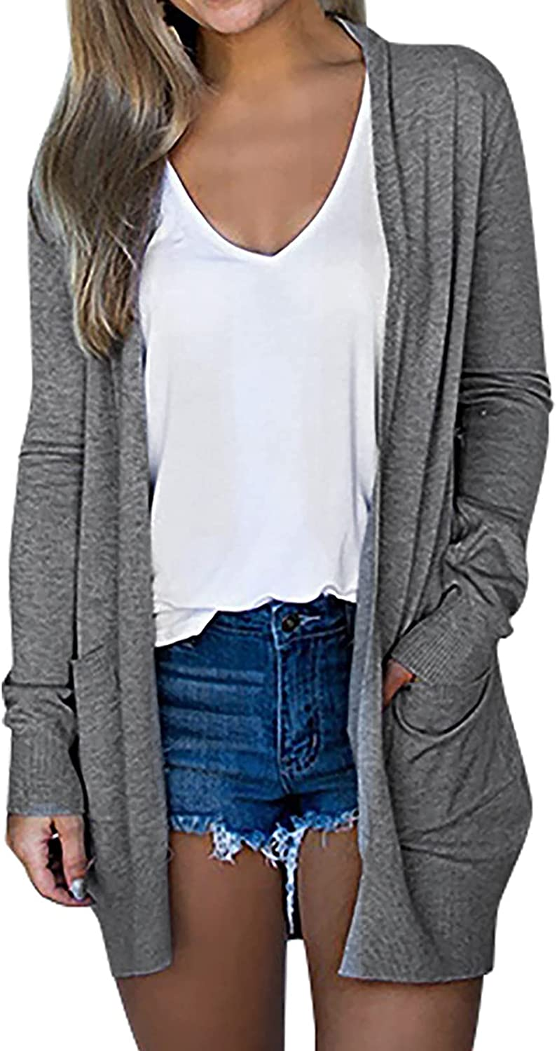 Kanzd Cardigans for Women Women's Fashion Long Sleeve Lightweight Cardigans Casual Solid Open Front Outwear Pocket Blouse