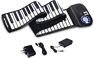 BABY JOY Roll Up Piano, Upgraded Electronic Piano Keyboard, Portable Piano w/Bluetooth, MP3 Headphone USB Input, MIDI OUT, 128 Rhythms, Record, Play, Volume Control (Black, 88Keys)
