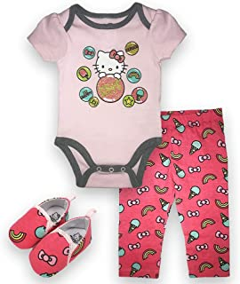 Hello Kitty Baby Girls Newborn Infant 3 Piece Set Onesie Bodysuit Long Pants and Shoes