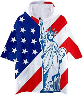 Shirt for Men F/_Gotal Mens T-Shirts Fashion Summer Short Sleeve Independence USA Flag Eagle Tee Shirts Blouse Tops