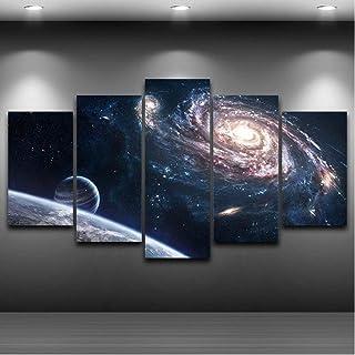 hlonl Salon HD Imprimé Peinture Photos Décoration De La Maison 5 Panneau Univers Voie Lactée Nébuleuse Moderne Art Mural P...
