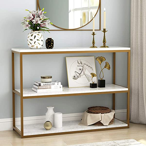 Tribesigns 3 Tier Console Table Sofa Entry Table With Gold Metal Frame For Home Creamy White