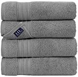 Hammam Linen 100% Cotton 27x54 4 Piece Set Bath Towels Cool Grey Soft and Absorbent, Premium Quality...