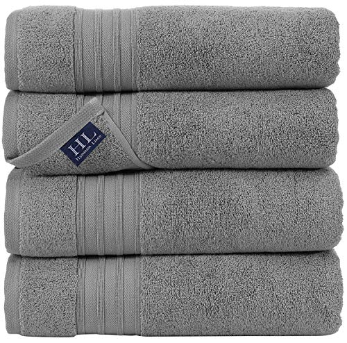 Hammam Linen 100% Cotton 27x54 4 Piece Set Bath Towels Cool Grey Super Soft, Fluffy, and Absorbent, Premium Quality Perfect for Daily Use 100% Cotton Towels