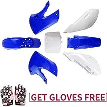 KLX110 Plastic Kit Fairing fender Kit for Kawasaki KX60 Suziki DRZ110 Pit Dirt Bike, Blue & White, Pink Gloves