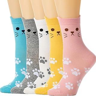 CUTE! PINK//BLUE//YELLOW 3 PAIRS LADIES NOVELTY PAW PRINT CREW SOCKS NWL