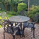 Lazy Susan - MIA 90 cm Runder Gartentisch mit 4 Stühlen - Gartenmöbel Set aus Metall, Antik Bronze (April Stühle, Beige Kissen)