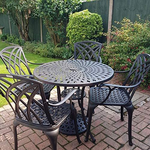 Lazy Susan - MIA 90 cm Runder Gartentisch mit 4 Stühlen - Gartenmöbel Set aus Metall, Antik Bronze (April Stühle, Grüne Kissen)