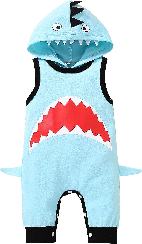 Newborn Baby Boy Girl Shark Jumpsuit Romper Max Max 84% OFF 51% OFF Sleeveless Hooded