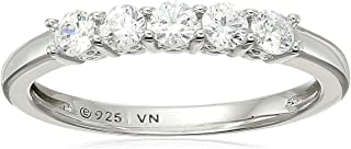 Chapado en platino anillo de piedra de 5–de corte redondo de circonita de Swarovski, Plata de Ley