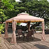 PURPLE LEAF 10' × 13' Outdoor Gazebo Garden Canopy Steel Frame Vented Soft Canopy, Double Square Tops with Privacy Curtain and Netting, Khaki