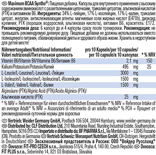 Weider Maximum BCAA Syntho + PTK, Neutral, 1er Pack (1 x 210 g) - 3