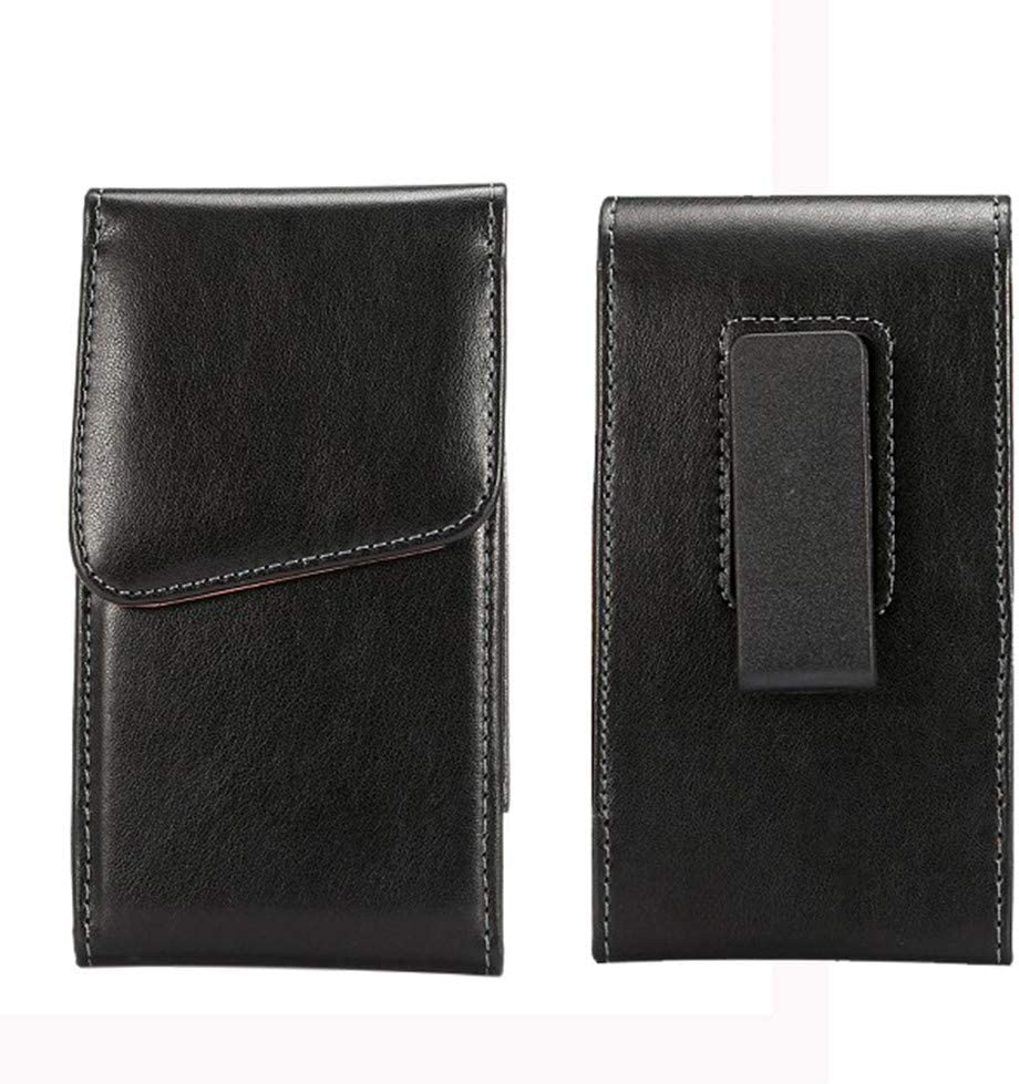 Faux Leather Vertical Cellphone Holster Case Pouch Holder with Swivel Belt Clip for LG V50, V40 ThinQ, Stylo 4 / Motorola Moto G7 Power, G6 Plus, E5 Plus, Z4 / OnePlus 7 Pro, 6T / Google Pixel 3a XL