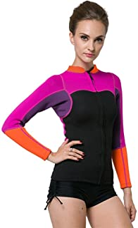 KXCFCYS Women's 2mm Neoprene Wetsuits Jacket Long Sleeve Wetsuit Top Surfing Suit Modest Swimwear