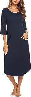 Long Nightgown,Women's Loungewear 3/4 Sleeve Sleepwear Midi Length Sleep Shirt with Pockets (S-XXL)