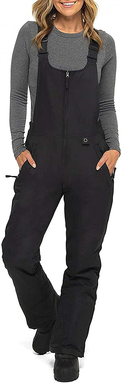 WOSHUAI Unisex Full Zip Overalls Baggy Rompers Jumpsuits for Mens Womens Long Bib Pants with Pocket