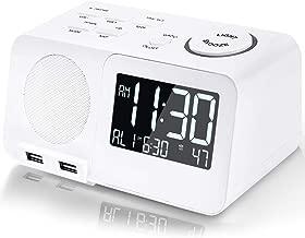 Alarm Clock Radio Digital FM Led Display Radio with USB Port Dual Alarms Dimmer Snooze Sleep Timer for Bedroom-White